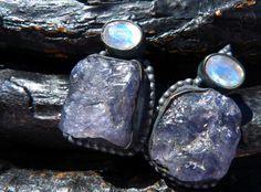 raw iolite earrings rainbow moonstone earrings stud by BeijoFlor