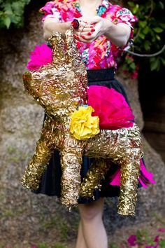 DIY Gilded Donkey Pinata for Cinco de Mayo Makeover Studio, Mexican Fiesta Party, Fiestas Party, Golden Birthday, 30th Birthday, Birthday Ideas, Circus Birthday, Unicorn Birthday, Pinup