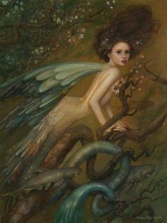 ≍ Nature's Fairy Nymphs ≍ magical elves, sprites, pixies and winged woodland faeries - Annie Stegg Magical Creatures, Fantasy Creatures, Illustrations, Illustration Art, Water Fairy, Ondine, Mermaids And Mermen, Fairy Art, Magic Fairy