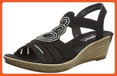 Rieker Women's Trio Casual Sandals 40 M EU/ 8.5-9 B(M) US Black Nubuck - Sandals for women (*Amazon Partner-Link)