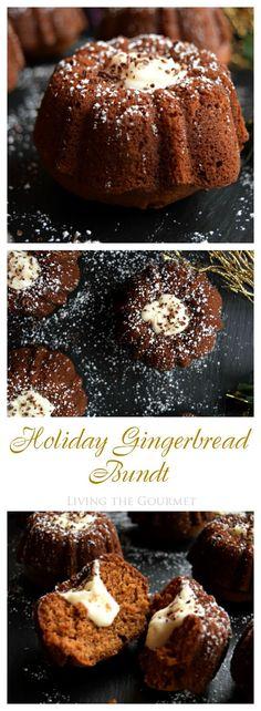 Living the Gourmet: Holiday Gingerbread Bundt Holiday Baking, Christmas Desserts, Christmas Foods, Christmas Cakes, Christmas Treats, Christmas Baking, Christmas Eve, Xmas, Mini Cakes