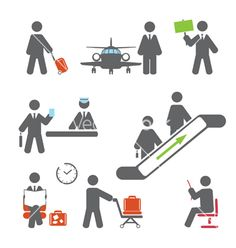 Air terminal icons vector image on VectorStock
