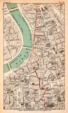 This 1908 map of Rome shows the layout of the city being hugged by the Tiber River, where both Romulus and Remus were placed to die as infants before being saved, eventually leading them to chose this location along the Tiber River as the location of Rome.