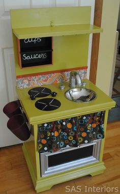 DIY play kitchen made out of an old night stand :) Would be better than the plastic if I get rid of my nightstand classroom?