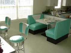 Kitchen Booth: Teal, White, Boomerang Table, Bar Stools cool for kitchen or my game room oldschool cafe
