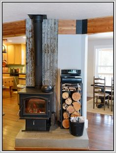 Wood Stove Design Ideas contemporary living room idea in burlington with a library beige walls and a wood stove Wood Stove Backsplash Delectable With Image Of Wood Stove Backsplash Home Design Ideas