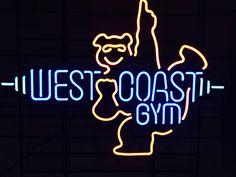 West coast gym by ND West Coast, Neon Signs, Gym, Excercise, Gymnastics Room, Gym Room