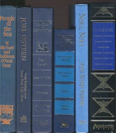 Shades of Blue Books, set of 6 books, Medium Blue, Navy Blue, Dark Blue Decor for library, wedding, office, photo prop, staging by CalhounBookStore on Etsy