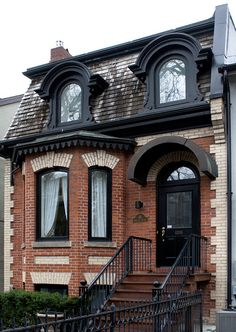 Hazelton Avenue - gotta love a brick house, and gotta love the black detailing on this one. Early Gothic American.