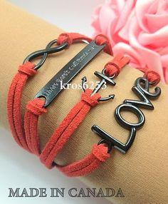 Womens Accessories Infinity Love Anchor WTAW Red Velvet Black Charm K850br