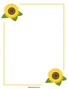 Sunflower Stationery In Three Versions Blank Lined And Handwriting Paper