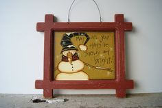 Snowman Frame Red Wood Hand Painted Christmas by Ramshackles