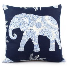Elephant in the Room Decorative Throw Pillow in Indigo Blue - Chloe & Olive