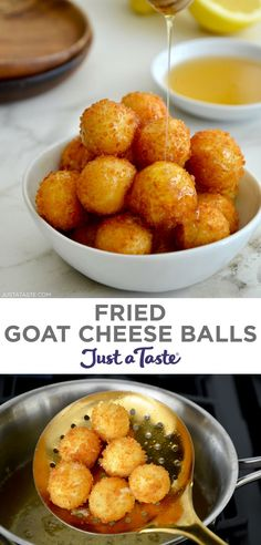 Fried Goat Cheese Balls are here to revolutionize your appetizer, snack and salad topping game! Tangy goat cheese is wrapped in a Panko crust and fried (or air-fried!) until crispy, crunchy, gooey golden brown perfection. justataste.com #goatcheeseappetizer #bitesizeappetizers #cheeseball #cheeseballrecipes #justatasterecipes Bite Size Appetizers, Vegetarian Appetizers, Cheese Appetizers, Easy Appetizer Recipes, Goat Cheese Ball Recipe, Goat Cheese Recipes, Cheesy Recipes, Fried Goat Cheese, Easy Party Food