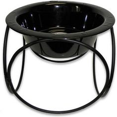 Platinum Pets Midnight Black Olympic Diner Stand with Wide Rimmed Bowl, Large, 7-cup bowl