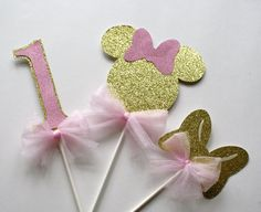 Gold and Pink Minnie Centerpiece Minnie by ThePartyPaperFairy