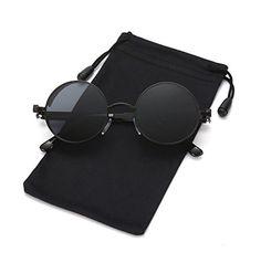 0f1ffbddd7 LOOKEYE Retro Round Steampunk Sunglasses Gothic Hippie Shades Metal Mirrored  UV400 PROTECTION  This John Lennon