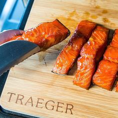 Meat candy ahead: Salmon filet cured with salt and brown sugar, then smoked and mopped with maple syrup. Traeger Recipes, Rib Recipes, Salmon Recipes, Grilling Recipes, Seafood Recipes, Grilling Tips, Recipes Dinner, Soup Recipes