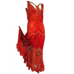 Pre-owned 1920s Crimson Panne Velvet Dropped-Waist Gown with Lame and... ($3,800) ❤ liked on Polyvore featuring dresses, gowns, vintage, evening dresses, evening gowns, red gown, vintage beaded dress, beaded gown, vintage 1920s dresses and vintage red dress
