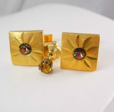 Gold Filled RIVOLI Cufflinks Vintage Topaz by NeatstuffAntiques, $95.00