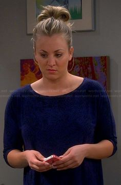 Penny's blue and black printed top on The Big Bang Theory.  Outfit Details: http://wornontv.net/22608/ #TheBigBangTheory