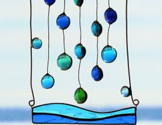 Bermuda Rain Abstract Glass Mobile by SNLCreations on Etsy, $39.00