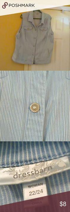 Vest Striped lite blue denim vest pretty silver buttons 1 Madison Other