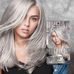 Got2b Color Metallic Silver - 1 Kit : Target Grey Hair Dye, Silver Blonde Hair, Platinum Blonde Hair, Long Grey Hair, Silver Lavender Hair, Silver White Hair, Pelo Color Gris, Metallic Hair Color, Silver Color