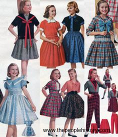 1958 -  Tapered slacks with fun patterns and matching separates became more and more popular for teens and girls and drop-waist dresses with sailor-like bow details were also popular. Colorful plaids and bold striped patterns were seen on skirts and dresses for all ages.