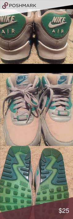 Men's Nike Air Max Aqua green & cream 9.5 men's still have a lot of wear left too them Nike Shoes Athletic Shoes