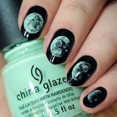 black moon nails #nailart #nails #moon #space #black