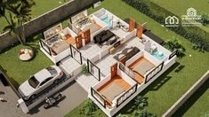 One Storey Duplex House Plan with 2 Bedrooms - House And Decors Modern Bungalow House Design, Small House Design, Village House Design, Village Houses, 20x40 House Plans, Small Cottage Designs, Affordable House Plans, Three Bedroom House Plan, House Construction Plan