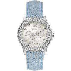 Guess Ladies watch with a blue denim strap, white dial and crystal... ($225) ❤ liked on Polyvore featuring jewelry, watches, white wrist watch, silver watches, silver jewelry, guess jewellery and guess watches