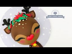 Rudolph the red nosed Reindeer Christmas cake Buttercream Fondant, Fondant Cookies, Cupcakes, Red Nosed Reindeer, Reindeer Christmas, Christmas Cookies, Christmas 2019, Winter Christmas, Fondant Christmas Cake