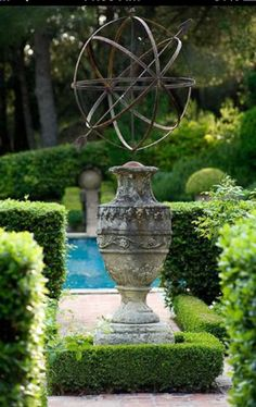 Choosing antiques for the garden Antique Garden sculpture French Formal Garden Inspiration Grey Gardens, Formal Gardens, Outdoor Gardens, French Formal Garden, Landscape Design, Garden Design, Landscape Architecture, Garden Urns, Garden Spheres