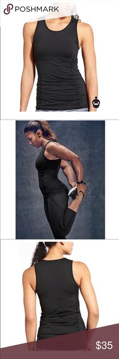 "Athleta Stealth Tank Performance fitted. Hugs the body for a performance edge. Hidden support. Zoned support along midsection provides a sculpted look. Pit to pit measures approximately 18"". Shoulder to hem measures approximately 26"". Color is Black. Size is XL. Athleta Tops"