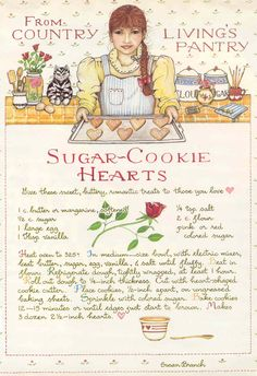gold country girls: Susan Branch Love Part One Old Recipes, Vintage Recipes, Cookie Recipes, Family Recipes, Party Recipes, Cookbook Recipes, Brownie Cookies, Sugar Cookies, Heart Cookies