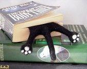 Cat Bookmark - Black Needle Felted Kitty Half Splat bookmark