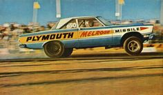 """1965 Melrose Missile Plymouth with """"Super Commando"""" 426 Hemi. Driven early in the year by Tom Grove, then later by Cecil Yother."""