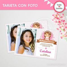 Comunión Niña Rosa: tarjeta con foto