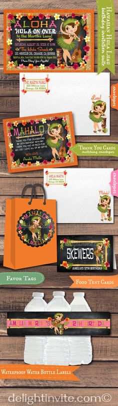 This retro Hawaiian Luau party Hula Girl invitation is just fabulous! With vintage fonts and an adorable custom illustration of a retro style Hula Girl juxtaposed on a chalkboard background, the experts printed Luau party set will make a HUGE splash at your upcoming Hawaiian celebration! We have matching luau theme thank you cards, favor tags, water bottle labels, and food tent cards.