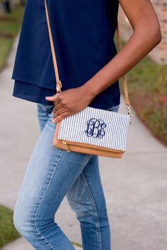 FAST SHIPPING Navy SEERSUCKER Crossbody Purse Blank or Monogrammed  Valentines Birthday Mother's Day Teacher Gift by DazzlingDarlingsBout on Etsy