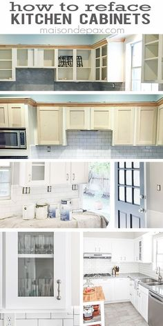 Covering the black refrigerator with wainscoting panels to for Diy kitchen cabinets refacing ideas