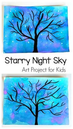 Winter Tree and Starry Night Sky art project for kids!