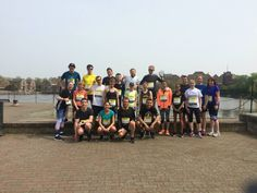 The Running Works guests pose for a quick photo with Jo Pavey at the Shadwell Basin during their run.