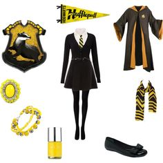 Hufflepuff School Uniform by heather-mccallum on Polyvore featuring VAN LAACK, Dorothy Perkins, Alfani, Bee Charming, IRIS VON ARNIM and Nails Inc.