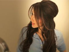 hair half up with bangs brushed to the sides http://www.itgirlweddings.com/blog/wedding-hairstyle-the-half-up-do-tutorial