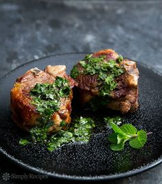Lamb Loin Chops with Mint Chimichurri ~ Seared lamb loin chops, served with chimichurri sauce of mint and parsley. Made it and loved it! Lamb Recipes, Meat Recipes, Paleo Recipes, Food Processor Recipes, Cooking Recipes, Grilling Recipes, Healthy Cooking, Recipies, Chimichurri