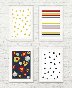 Fun Funky Florals, dots and Stripes MINI ART SET Each print is 4x6 in size…