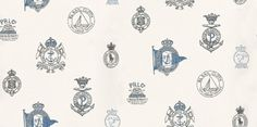 Rowthorne Crest (PRL032/03) - Designers Guild Wallpapers - An elegant classical design featuring the Ralph Lauren logo. Shown here in admiral colours. Please request a sample for true colour match. Wide width.